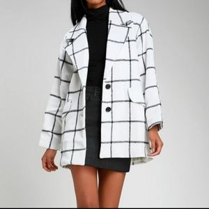Lulu's pea coat windowpane black/white plaid